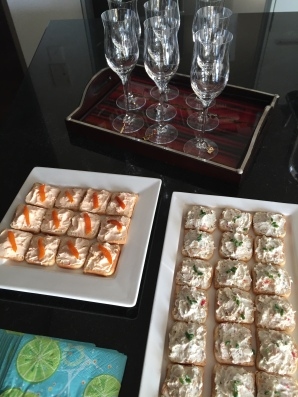 Roasted Red Pepper and Smoked-Trout Canapés