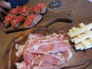 Tomato Bruschetta, Prosciutto and Cheese Sticks