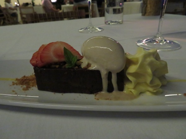 Chocolate Fondant with passion fruit foam