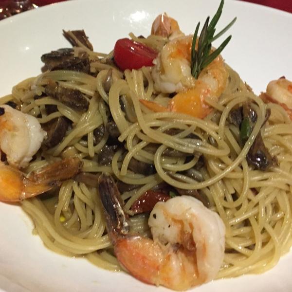 Spaghetti with Prawns/Funghi
