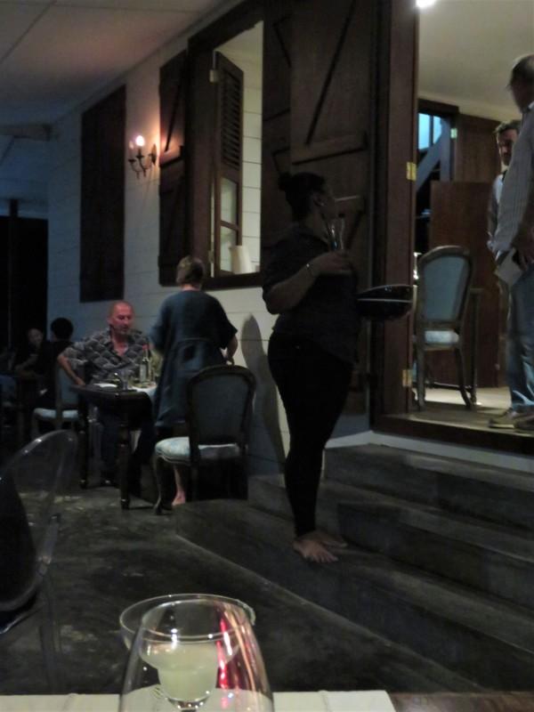Barefoot waitress ...